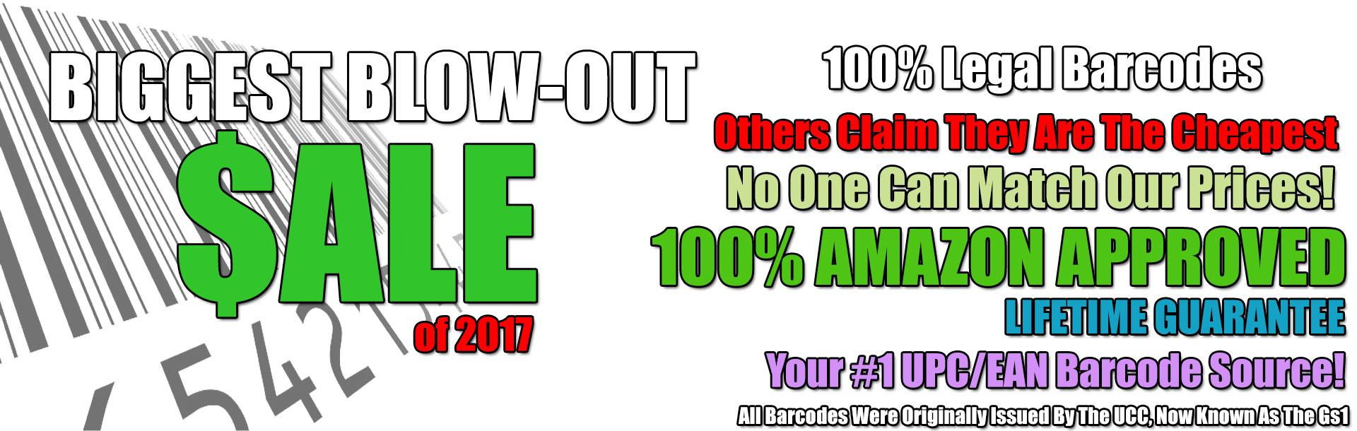 UPC Barcodes Sale 2017
